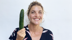 Abbey holding a cucumber
